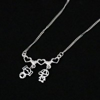 Silver Choker 925 Double Hearts Canga with Couple Boy and Girl