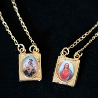 Gold Plated Scapular Sacred Heart Jesus and Mary 60cm