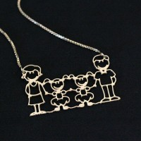 Choker Semi Jewelry Gold Plated Family Mother, Father, and Two Daughters 45cm