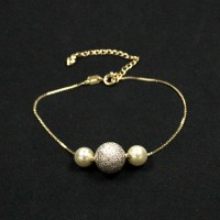 Bracelet Semi Jewelry Gold Plated Balls 20cm