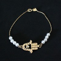 Bracelet Semi Jewel Gold Plated Hand of Fatima / Hamsa 20cm