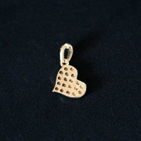 Semi pendant jewelry Gold Plated Heart with Zirconia stones