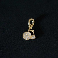 Semi pendant jewelry Gold Plated tricycle with Zirconia stones