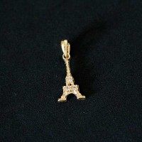 Semi pendant jewelry Gold Plated Eiffel Tower with Zirconia stones