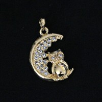 Pendant Semi Jewelry Gold Plated Moon and Owl with Zirconia Stones