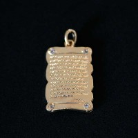 Semi pendant jewelry Gold Plated Our Father with Zirconia stones