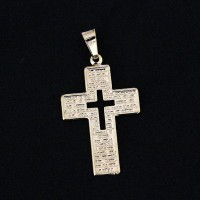 Pendant Semi Jewelry Gold Plated Cross with Our Father