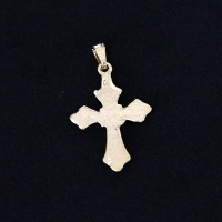Pendant Semi Jewelry Gold Plated Cross Detail With Zirconia Stones