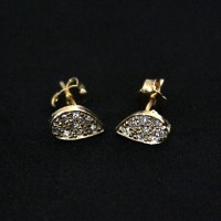 Semi-precious Earring Gold Plated Leaf Drop with Zirconia Stones