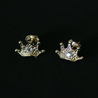 Semi earring jewelry plated Crown Gold with Zirconia Stone