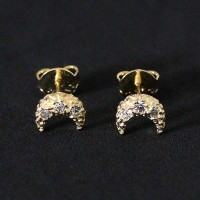 Semi Earring Jewelry Gold Plated Moon