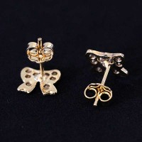 Semi Earring Jewelry Gold Plated Tie with Zirconia stones
