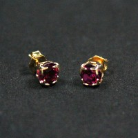 Gold Plated Semi-precious Earring with Dark Pink Zirconia Stone