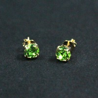 Gold Plated Gemstone Earring with Green Zirconia Stone