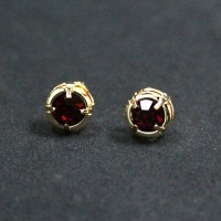 Gold Plated Semi-Gold Earring with Red Zirconia Stone