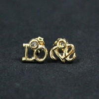 Semi-precious Earring Gold Plated Love with Zirconia Stone