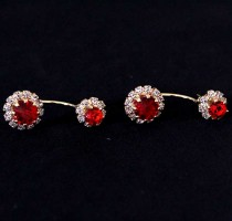 Semi Earring Jewelry Piercing Gold plated with Red Zirconia Stones
