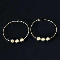 Earring Semi Jewelry Gold Plated Ring with Rolling Balls