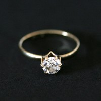 Ring Falange Semi Jewelry Gold Plated Les with Zirconia Stone