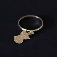Ring Semi Jewelry Gold Plated Cat