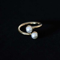 Ring Semi Jewelry Gold Plated Pearl