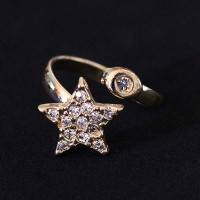 Ring Falange Semi Jewelry Gold Plated Star with Zirconia stones