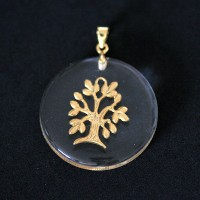 Semi pendant jewelry Gold Plated Translucent Tree of Life
