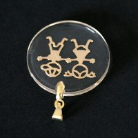 Semi pendant jewelry Gold Plated Translucent Mother Son and Daughter Love