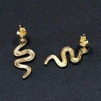 Semi-precious Earring Gold Plated Snake / Cobra