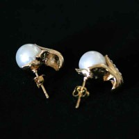Earring Semi Jewelry Gold Plated With Zirconia Stones and Pearl Artificial