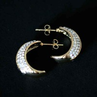 Earring Semi Jewelry Gold Plated With Zirconia Stones