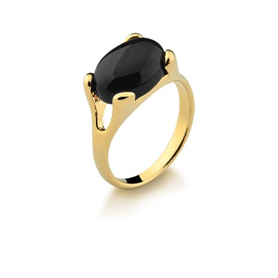 Semi-Gold Plated Ring with Natural Stone Black Agate