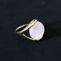 Semi-Gold Plated Ring with Natural Stone Pink Quartz