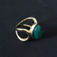 Semi-Gold Plated Ring with Natural Stone Green Agate