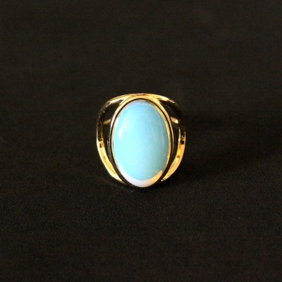 Semi-Gold Plated Ring with Opaline Natural Stone