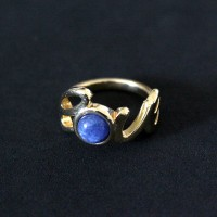 Semi Gold Plated Ring with Natural Stone Sodalite