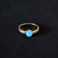 Semi-Gold Plated Ring with Natural Stone Agata Blue Sky