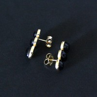 Semi-precious Earring Gold Leaf with Natural Stone Star