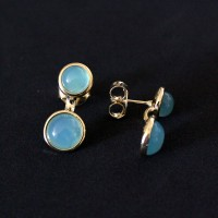 Gold Plated Gemstone Natural Stone Earring Agata Blue Sky
