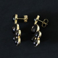 Semi-precious Earring Gold Leaf with Natural Obsidian Stone Smoke