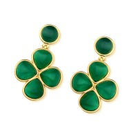 Gold Plated Gemstone Semi-precious Natural Stone Earring