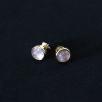 Semi-precious Earring Gold Plated with Natural Stone Amethyst