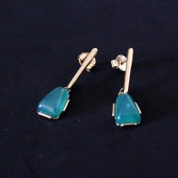 Gold Plated Semi Natural Gemstone Earring with Natural Agate Stone