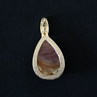 Pendant Semi Jewelry Gold Plated with Natural Stone Polychrome Jasper