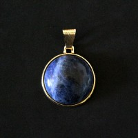 Pendant Semi Jewelry Gold Plated with Natural Stone Sodalite