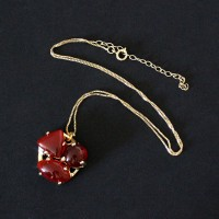Semi-precious Necklace Gold Plated with Natural Stone Red Agate 50cm