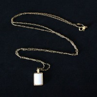 Semi-precious Necklace Gold Plated with Natural Stone Mother Pearl 75cm