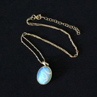 Semi-precious Gold Plated Necklace with Opaline Natural Stone 50cm