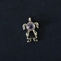 Pendant Semi Jewelry Gold Plated Girl with Natural Stone Amethyst