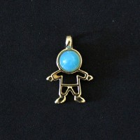 Pendant Semi Jewelry Gold Plated Boy with Natural Stone Agata Blue Sky